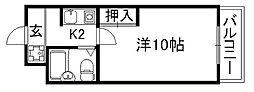 京都府京都市下京区朱雀宝蔵町の賃貸マンションの間取り