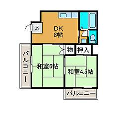 カーサ松ヶ枝[1階]の間取り