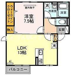 JR伯備線 清音駅 徒歩17分の賃貸アパート 2階1LDKの間取り