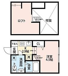 神奈川県相模原市緑区元橋本町の賃貸アパートの間取り