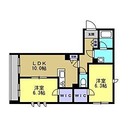 仮)川崎区塩浜2丁目シャーメゾン 1階2LDKの間取り