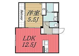 JR総武線 新検見川駅 徒歩4分の賃貸アパート 1階1LDKの間取り