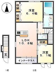 伊賀の郷 五番館[2階]の間取り