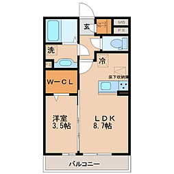 福岡県久留米市合川町の賃貸アパートの間取り