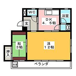 マンションT・U[4階]の間取り
