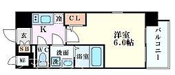エスリード新大阪グランゲートサウス 7階1Kの間取り