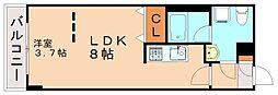 ブランシュ高宮 3階1LDKの間取り