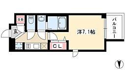 エステムコート名古屋栄プレシャス 7階1Kの間取り