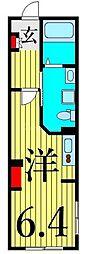 東京メトロ千代田線 西日暮里駅 徒歩7分の賃貸マンション 4階ワンルームの間取り