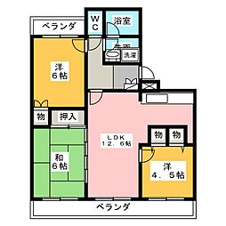 愛知県名古屋市緑区大高町字中屋敷の賃貸マンションの間取り