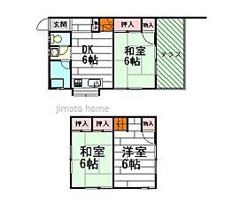 [テラスハウス] 大阪府茨木市南春日丘1丁目 の賃貸【/】の間取り