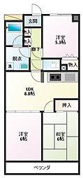 ロイヤルシティ四番館 2階3LDKの間取り