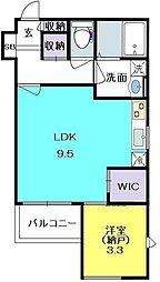 エクセレント夙川 1階1LDKの間取り