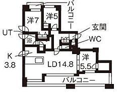 北海道札幌市豊平区平岸二条6丁目の賃貸マンションの間取り