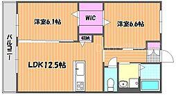 JR宇野線 大元駅 徒歩17分の賃貸アパート 1階2LDKの間取り