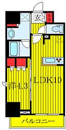 JR埼京線 板橋駅 徒歩6分の賃貸マンション 9階1LDKの間取り