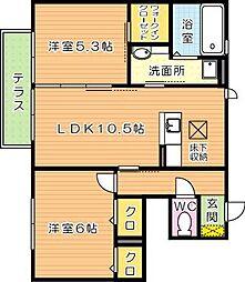 フェアリーコートアソウ(ASOH)II[1階]の間取り