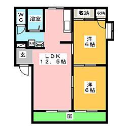 コーポホワイト D棟[1階]の間取り