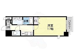 Osaka Metro谷町線 南森町駅 徒歩7分の賃貸マンション 12階1Kの間取り
