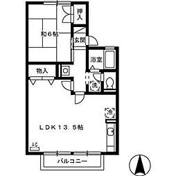 セジュール経堂 A棟[202号室]の間取り