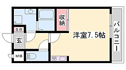 山陽電鉄本線 山陽曽根駅 徒歩7分の賃貸アパート 1階1Kの間取り