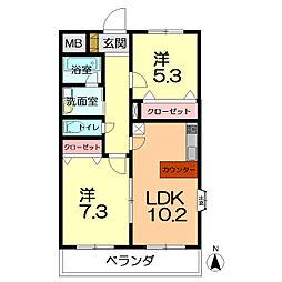 マノワール 2階2LDKの間取り