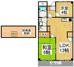 ハイツ久米川[4階]の間取り