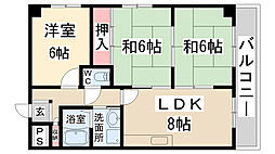 兵庫県伊丹市西台3丁目の賃貸マンションの間取り