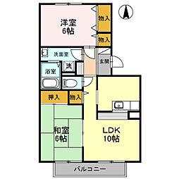 フレンドコーポB棟[1階]の間取り