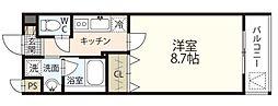 JR津山線 法界院駅 徒歩8分の賃貸マンション 1階1Kの間取り