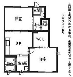 JR東海道・山陽本線 米原駅 徒歩10分の賃貸アパート 1階2DKの間取り