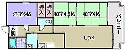 ラポール観音寺[206号室]の間取り