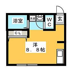 ランウェイ34R 1階ワンルームの間取り