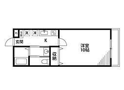 BUENA堀之内南3B棟 2階1Kの間取り