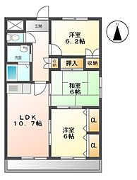 愛知県名古屋市緑区曽根2丁目の賃貸マンションの間取り