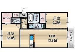 D-room沢良宜西[2階]の間取り