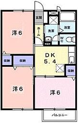 三重県松阪市大口町の賃貸アパートの間取り