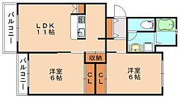 伊川道コーポ[2階]の間取り