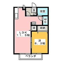 スクウェアパレス WEST[2階]の間取り