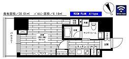 東京メトロ南北線 六本木一丁目駅 徒歩3分の賃貸マンション 2階1Kの間取り