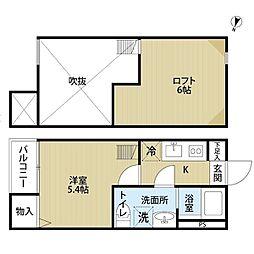 JR東北本線 南仙台駅 徒歩14分の賃貸アパート 2階1Kの間取り