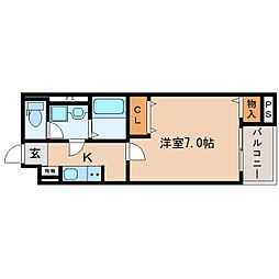 JR東海道本線 東静岡駅 徒歩6分の賃貸マンション 3階1Kの間取り