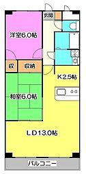 東京都東久留米市下里1丁目の賃貸マンションの間取り