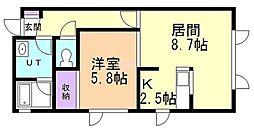 レザングレーヌII 2階1LDKの間取り