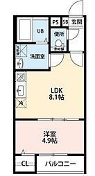 名古屋市営名城線 堀田駅 徒歩4分の賃貸アパート 3階1LDKの間取り