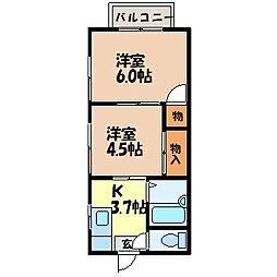 コーポ・レピュート高尾[204号室]の間取り