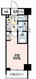 東京臨海高速鉄道りんかい線 東雲駅 徒歩12分の賃貸マンション 12階1Kの間取り