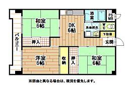福岡県北九州市八幡西区三ケ森2丁目の賃貸マンションの間取り