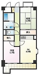 愛知県名古屋市名東区名東本通5丁目の賃貸マンションの間取り