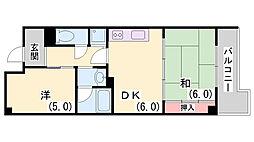 新神戸都マンション[701号室]の間取り